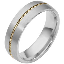 6.5mm Wide Designer Woven Style 14 Karat Gold Two-Tone Wedding Band