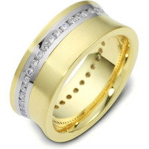 8mm Titanium & 14 Karat Yellow Gold 38 Diamond Wedding Band