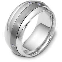 9mm Titanium & 14 Karat White Gold SPINNING Diamond Band