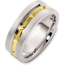 8mm 14 Karat Yellow Gold and Titanium Wedding Band