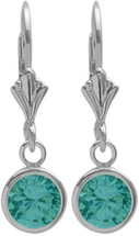 Genuine Sterling Silver CHOOSE YOUR STONE Round Leverback Gemstone Earrings