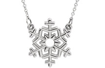 Genuine Sterling Silver Small Snowflake Necklace