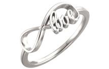 Genuine Sterling Silver Love Infinity Design Ring