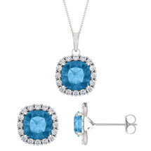Sterling Silver 6mm Cushion CHOOSE YOUR STONE Halo Pendant & Earring Set