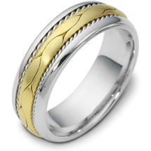 Woven 7mm Style Two-Tone 14 Karat Gold Comfort Fit Wedding Band Ring