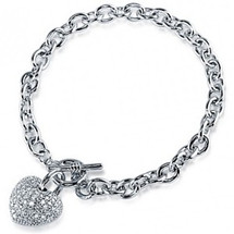 Ladies Pave Set 3D Heart Toggle Bracelet
