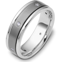 Designer 9mm Wide Titanium & Platinum Diamond Band Ring
