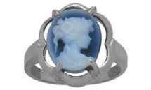 14 Karat White Gold Blue Agate Cameo Ring