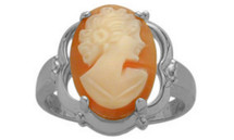Cornelian Shell 14 Karat White Gold Cameo Ring