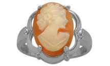 Cornelian Shell 14 Karat White Gold Cameo Ring