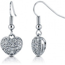Ladies Pave Set 3D Heart Earrings
