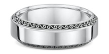14 Karat White Gold Swirl Design Wedding Band Ring