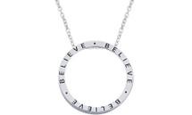"Genuine Sterling Silver Slide ""BELIEVE"" Inspirational Circle Pendant"