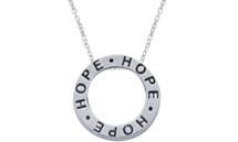 "Genuine Sterling Silver Slide ""HOPE"" Inspirational Circle Pendant"
