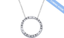 "Genuine Sterling Silver Slide ""INSPIRE"" Inspirational Circle Pendant"
