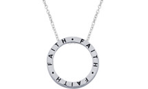 "Genuine Sterling Silver Slide ""FAITH"" Inspirational Circle Pendant"