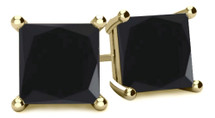 14 Karat Yellow Gold Princess Cut Brilliant Certified BLACK Diamond Earrings