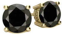 14 Karat Yellow Gold Round Brilliant Cut Certified BLACK Diamond Earrings