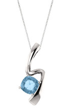 Genuine Sterling Silver Cushion Cut CHOOSE YOUR STONE Swirl Pendant