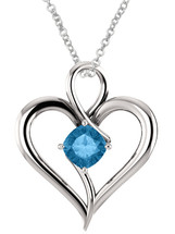 Genuine Sterling Silver 6mm Cushion Cut CHOOSE YOUR STONE Heart Pendant