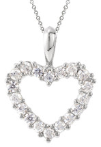 Genuine Sterling Silver Created White Sapphire Heart Pendant