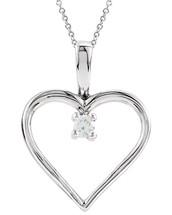 Genuine Sterling Silver Heart Diamond Pendant