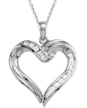 Created White Sapphire Sterling Silver Heart Pendant