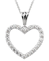 Sterling Silver 0.50 Carat Created White Sapphire Heart Pendant