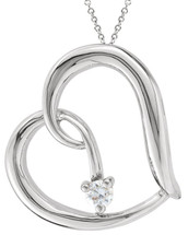 Genuine Sterling Silver Diamond Heart Slide Pendant