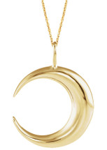 14 Karat Yellow Gold Crescent Moon Pendant