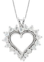 10 Karat White Gold Heart Created White Sapphire Pendant