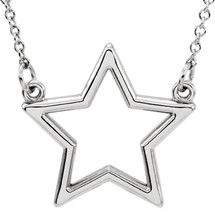 14 Karat White Gold Small Star Necklace