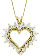 10 Karat Yellow Gold Heart Created White Sapphire Pendant