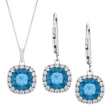 Sterling Silver 6mm Cushion CHOOSE YOUR STONE Halo Pendant & Leverback Earring Set