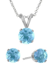 Sterling Silver 6mm SWAROVSKI® Elements Aquamarine Solitaire Pendant & Earring Set