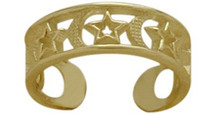 10 Karat Yellow Gold Moon & Stars Toe Ring