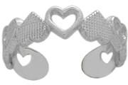 Genuine Sterling Silver Heart Toe Ring