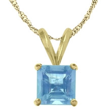 14 Karat Yellow Gold CHOOSE YOUR GEMSTONE Princess Cut Square Pendant