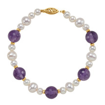 14 Karat Yellow Gold Genuine Amethyst and Cultured Pearl Bracelet