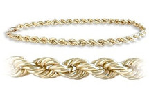 Ladies Yellow Gold 5mm wide 10 karat Rope Styled Bracelet