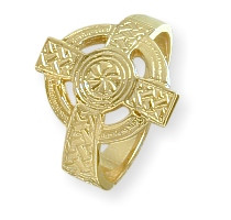 Men's 10 Karat Yellow Gold Religious Celtic Cross Ring