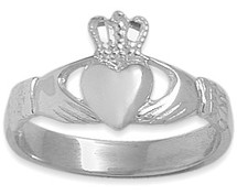 Sterling Silver High Polish Celtic Claddagh Ring