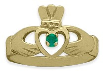 Ladies 10 Karat Yellow Gold Emerald Claddagh Ring