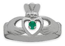 Ladies 10 Karat White Gold Emerald Claddagh Ring