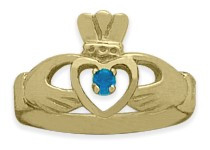 Ladies 10 Karat Yellow Gold Blue Topaz Claddagh Ring