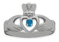 Ladies 10 Karat White Gold Blue Topaz Claddagh Ring