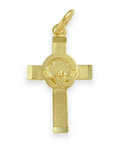 Yellow Gold Religious Claddagh Cross