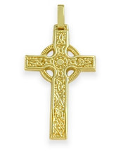 Large 14 Karat Yellow Gold Religious Celtic Cross