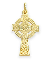 14 Karat Yellow Gold Inscribed Religious Celtic Cross