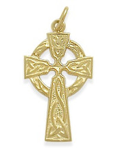 14 Karat Yellow Gold Fancy Inscribed Religious Celtic Cross